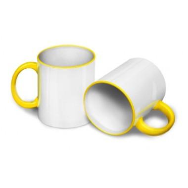 Кружка для сублимации желтая ручка и кант