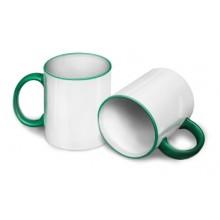 Кружка для сублимации светло-зеленая ручка и кант
