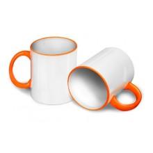 Кружка для сублимации оранжевая ручка и кант