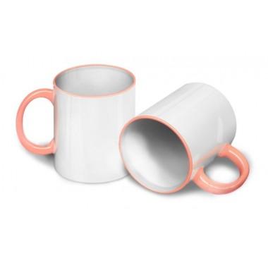 Кружка для сублимации розовая ручка и кант