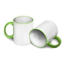 Кружка для сублимации светло-зеленя ручка и кант